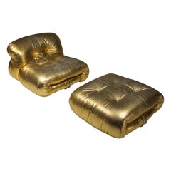Soriana Lounge Chair in Gold by Afra & Tobia Scarpa
