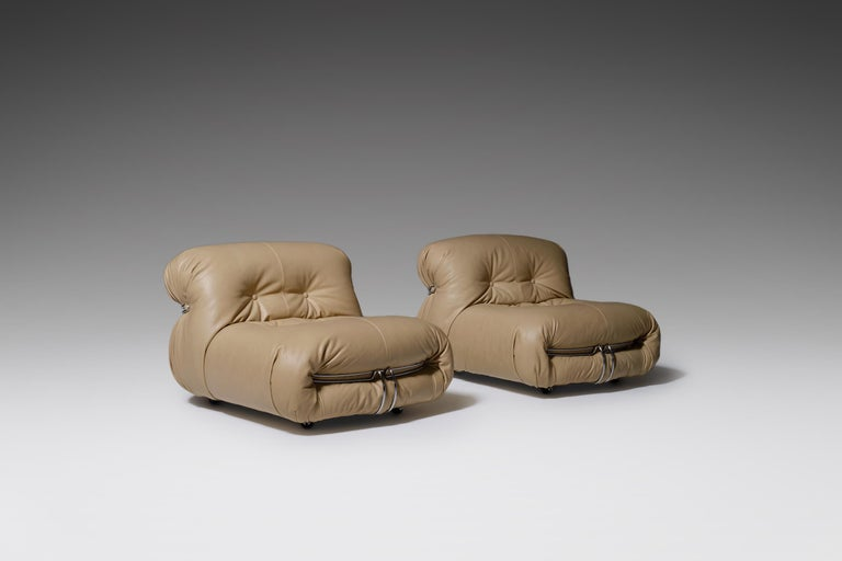 Mid-Century Modern Soriana Lounge Chairs by Afra & Tobia Scarpa for Cassina, Italy, 1969 For Sale
