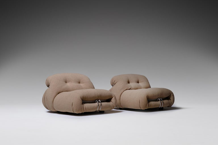 Italian Soriana Lounge Chairs by Afra & Tobia Scarpa for Cassina, Italy, 1969 For Sale