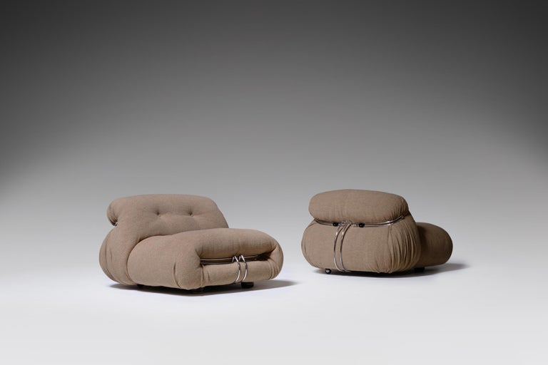 Soriana Lounge Chairs by Afra & Tobia Scarpa for Cassina, Italy, 1969 In Good Condition For Sale In Rotterdam, NL