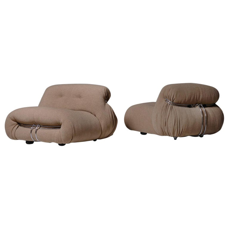 Soriana Lounge Chairs by Afra & Tobia Scarpa for Cassina, Italy, 1969 For Sale