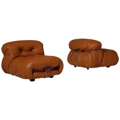 Soriana Lounge Chairs in Cognac Leather by Afra & Tobia Scarpa, Italy, 1969