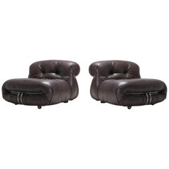 Soriana Pair of Lounge Chairs in Dark Brown Leather