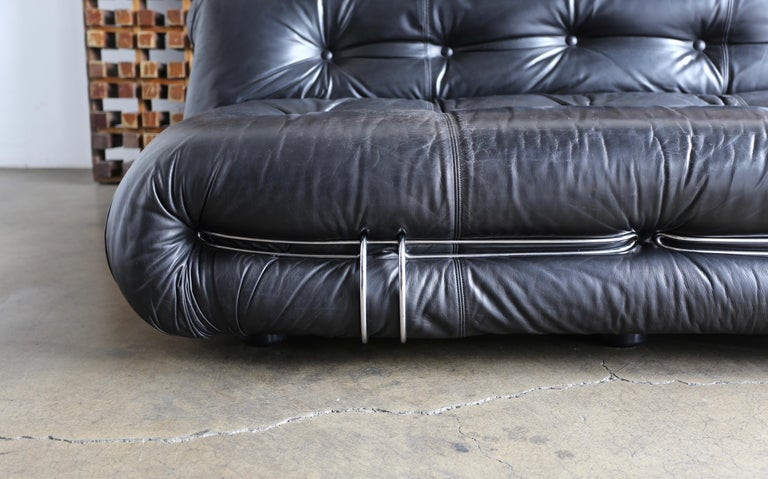 Steel Soriana Settee by Afra & Tobia Scarpa for Cassina For Sale