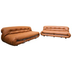 Soriana Leather Sofa by Afra & Tobia Scarpa for Cassina, 1970s
