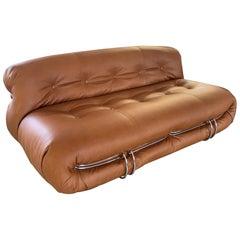 Soriana Sofa design Tobia Scarpa for Cassina 1970s, Medium size Cognac leather
