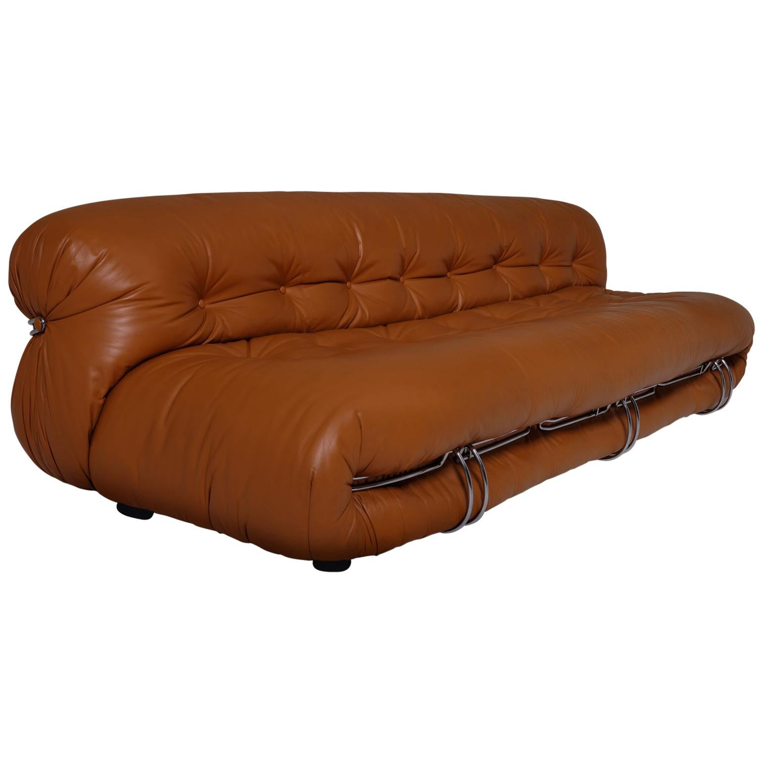 Soriana Three-Seat Sofa in Cognac Leather by Afra & Tobia Scarpa, Italy, 1969