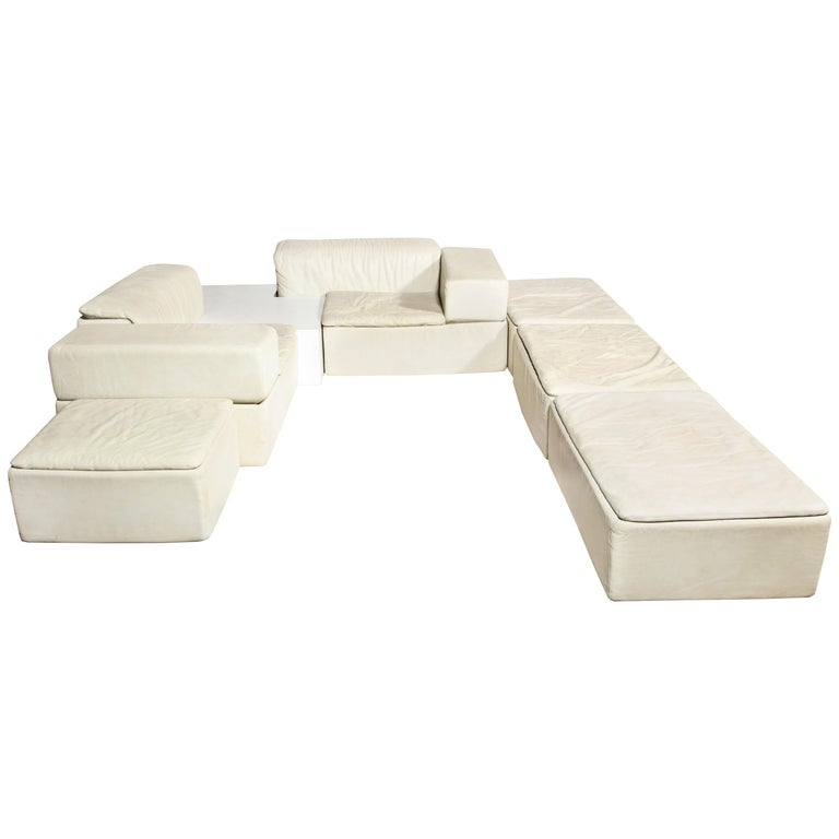 Sormani, Claudio Salocchi Palone White Leather Sectional Sofa, Italy, 1970s For Sale