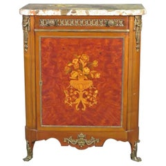 Sormani Style Inlaid Marble Top Side Cabinet with Bronze Mounts, Circa 1940