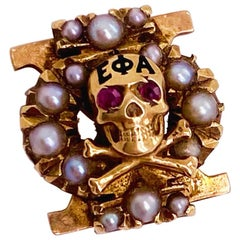 Sorority Skull Chi Omega Seed Pearl Pin, Ruby Eyes and Pearl Skull, 1930