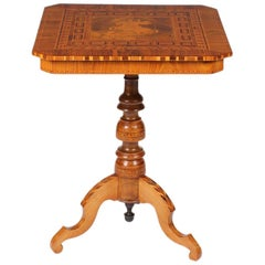 Sorrento Side Table with Marquetry of Saint George, Italy, Walnut, 19th Century