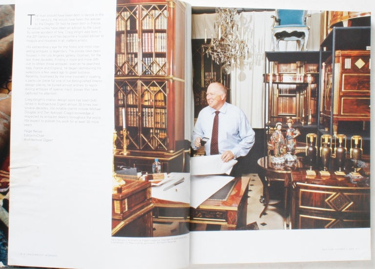 Sotheby's: Craig Wright Interiors, New York: October 4, 2006. Softcover auction catalogue with results. 212 pages of: Russian, Italian, French and English 18th and early 19th century furniture. Many of the pieces come from Wright's own personal