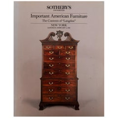 """Sotheby's: Important American Furniture, Contents of """"Langdon,"""" 2/1985"""