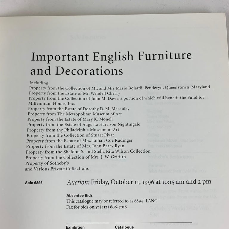 International Style Sotheby's NY Auction Catalogue, Important English Furniture & Decorations, 1996