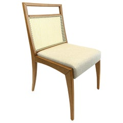 Sotto Cane-Back Dining Chair with Open Top Rail in Oak Finish and Oatmeal Seat