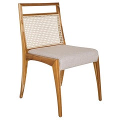 Sotto Cane-Back Dining Chair with Open Top Rail in Teak Finish