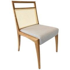 Sotto Cane-Back Dining Chair with Open Top Rail in Teak with Light Grey Fabric