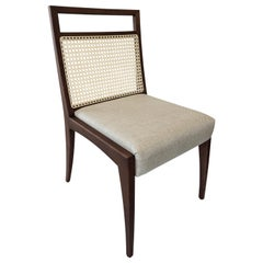 Sotto Cane-Back Dining Chair with Open Top Rail in Walnut with Oatmeal Fabric