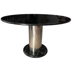 "Sottsass Black Marble and Chrome Steel ""Super Loto"" Italian Table"