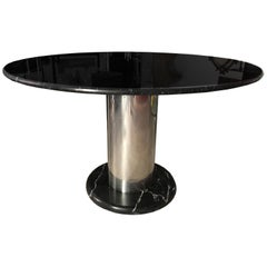 """Sottsass Black Marble and Chrome Steel """"Super Loto"""" Italian Table"""