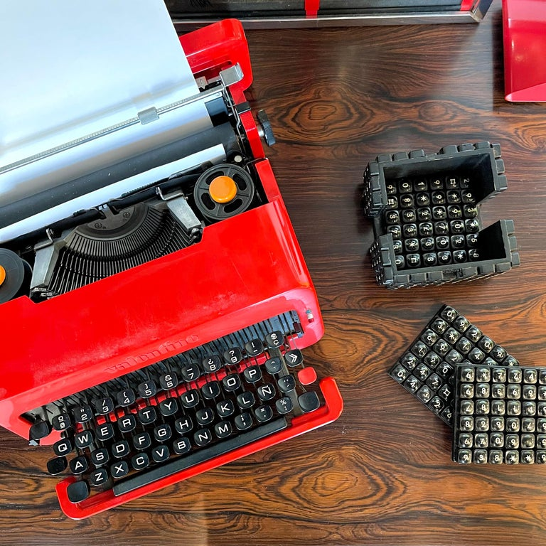 """This dapper """"Valentine"""" machine was designed by Ettore Sottsass with Perry King in 1969 when Sottsass convinced Olivetti manufacturers of the portable device's purpose to keep poets company on lonely weekends in the country. This typewriter is also"""