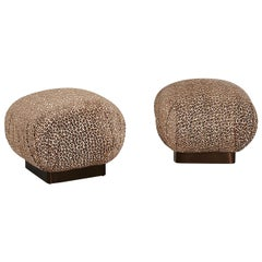 Soufflé Pair of Pouf Ottomans Bronze Base