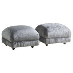 """""""Souffle"""" Style Ottomans on Casters, Pair"""