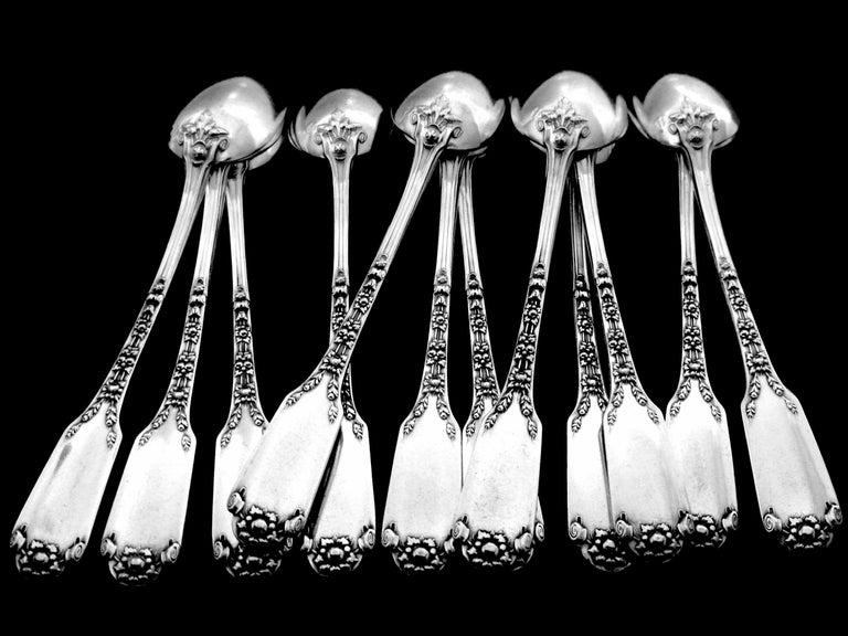 Art Nouveau Soufflot Massive French All Sterling Silver Dessert Spoons Set 12-Piece For Sale