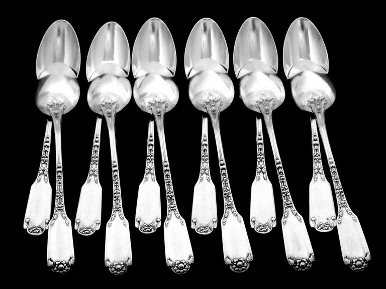 Soufflot Massive French All Sterling Silver Dessert Spoons Set 12-Piece For Sale 1