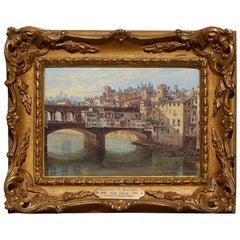 Sought after 19th Century Woman Painter Antoinetta Brandeis, Ponte Vecchio