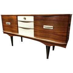 Sought After Vintage 1950 Retro Sideboard with Brass Handles and Ebonized Base