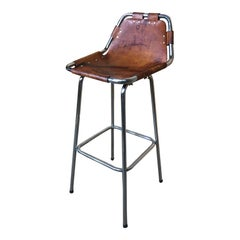 Sought after Vintage Original Leather Charlotte Perriand Stool for Les Arcs
