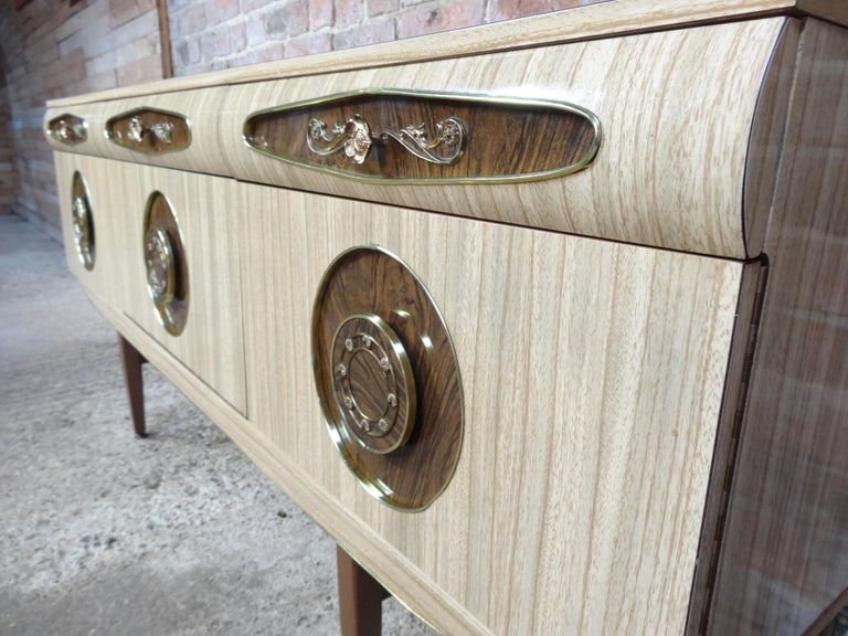 Sought after Vintage Retro Italian Sideboard with Brass Handles from 1950s In Good Condition For Sale In Cowthorpe, North Yorkshire