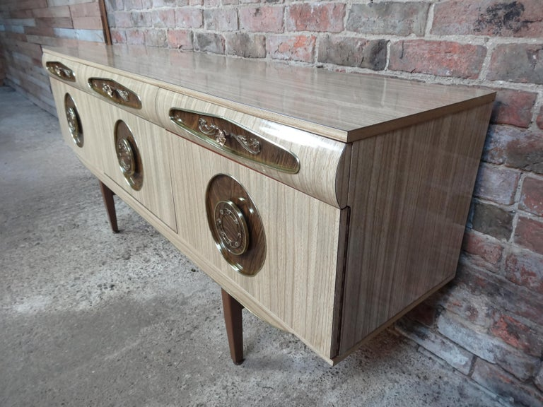 20th Century Sought after Vintage Retro Italian Sideboard with Brass Handles from 1950s For Sale