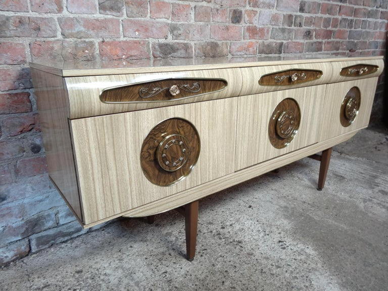 Teak Sought after Vintage Retro Italian Sideboard with Brass Handles from 1950s For Sale