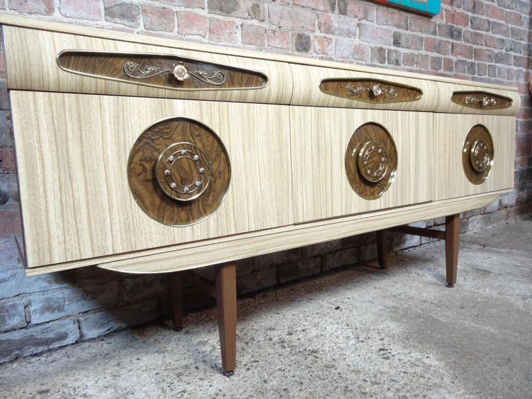 Sought after Vintage Retro Italian Sideboard with Brass Handles from 1950s For Sale 1
