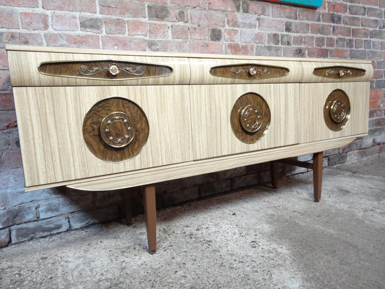 Sought after Vintage Retro Italian Sideboard with Brass Handles from 1950s For Sale 2
