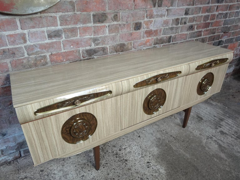 Sought after Vintage Retro Italian Sideboard with Brass Handles from 1950s For Sale 3