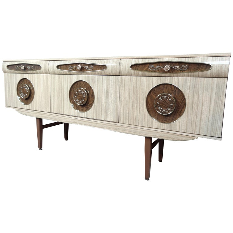 Sought after Vintage Retro Italian Sideboard with Brass Handles from 1950s For Sale