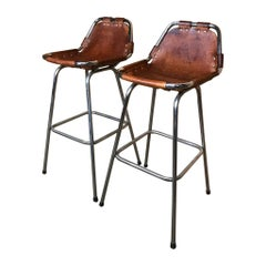 Sought after Vintage Two Original Leather Charlotte Perriand Stools for Les Arcs