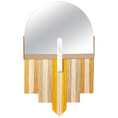 Mid-Century Modern Souk Yellow Mirror in Natural Walnut, White Marble and Silk