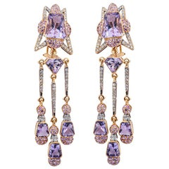 Olympus Art Certified Soul Healer Amethyst and Sapphire and Diamond Earrings