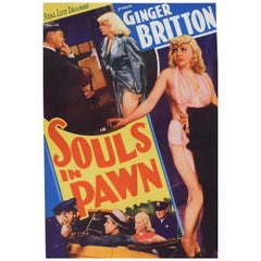 Souls in Pawn 1940 Original Linen Backed Theatrical Poster Burlesque One-Sheet