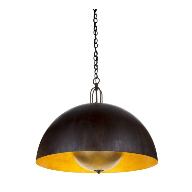 Soundlight 1 Large Ceiling Lamp with Gold Leaf For Sale