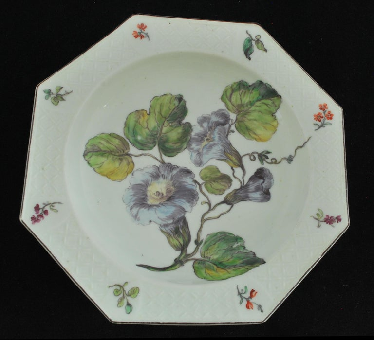 Rococo Soup Plate with Hans Sloane Type Painting, Chelsea, circa 1755 For Sale