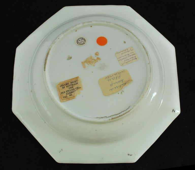 English Soup Plate with Hans Sloane Type Painting, Chelsea, circa 1755 For Sale