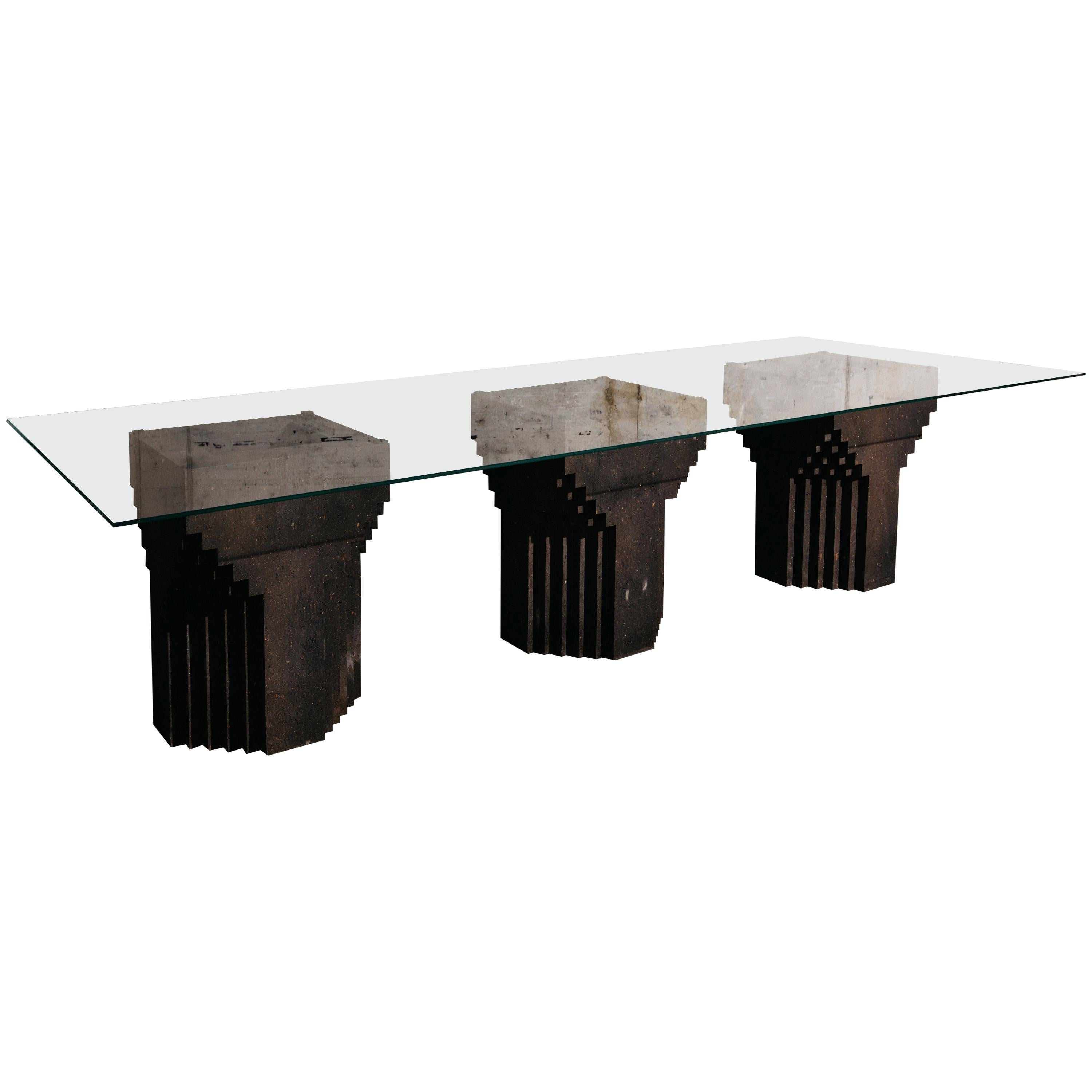 Source Dining Table No.1 in Black Tuff and Clear Glass