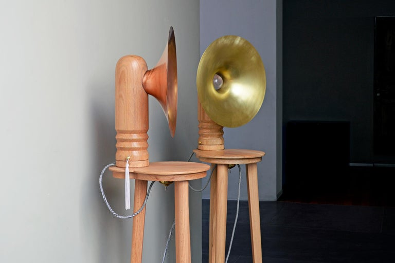 Modern Sousaphone Contemporary Oak Tripod Floor Lamp with Brass Screen For Sale