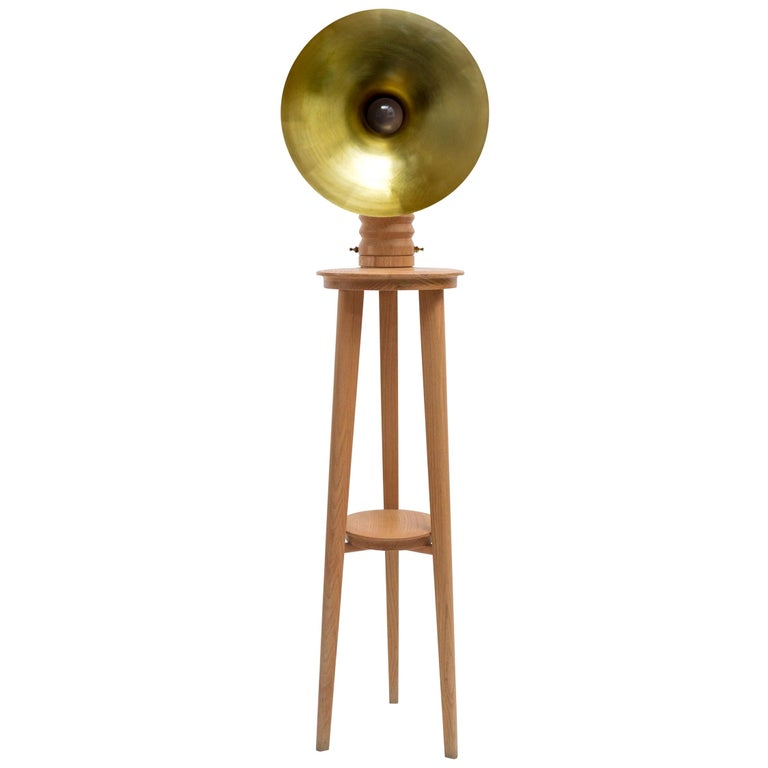 Sousaphone Contemporary Oak Tripod Floor Lamp with Brass Screen For Sale
