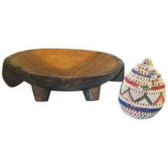 South African Zulu Two Handled Carved Wood Meat Tray